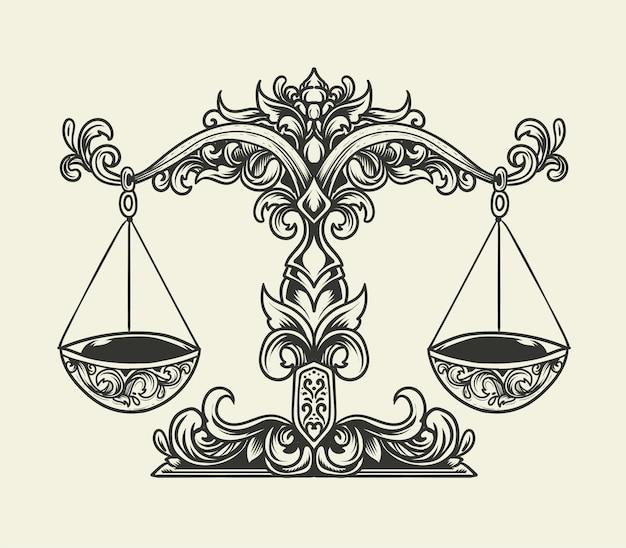 Illustrazione bilancia bilancia con stile ornamento vintage