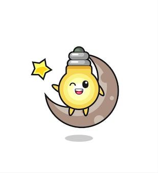 Illustrazione del fumetto della lampadina seduto sulla mezza luna, design in stile carino per maglietta, adesivo, elemento logo