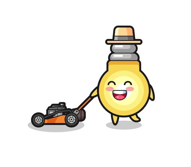 Illustrazione del personaggio della lampadina con tosaerba, design in stile carino per maglietta, adesivo, elemento logo