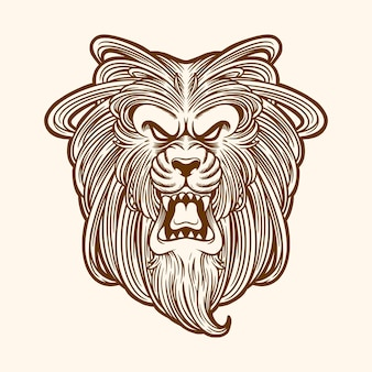 Illustrazione incisione animale testa di leone
