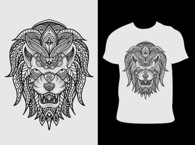 Stile dell'ornamento della mandala della testa del leone dell'illustrazione con il disegno della maglietta