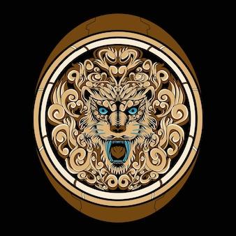 Illustrazione dell'ornamento della testa del leone