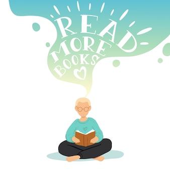 Illustrazione del ragazzino seduto e leggendo il libro, sognando.