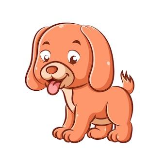 L'illustrazione del piccolo cane carino con il colore arancione sta giocando e tira fuori la lingua a causa della stanchezza
