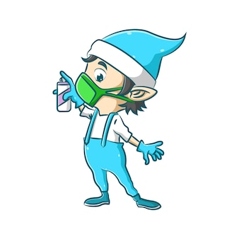 L'illustrazione del piccolo elfo usa la maschera verde e tiene in mano lo spray disinfettante per proteggere il suo corpo