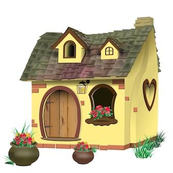 Illustrazione di una piccola casa fatata con tetto di tegole