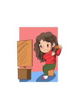 Illustrazione della bambina che pettina i suoi capelli
