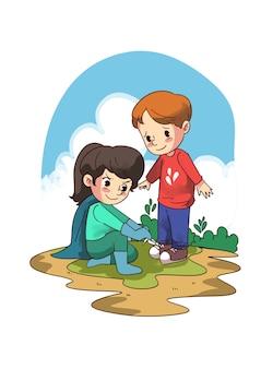 Illustrazione della bambina aiutando il ragazzo con i lacci delle scarpe
