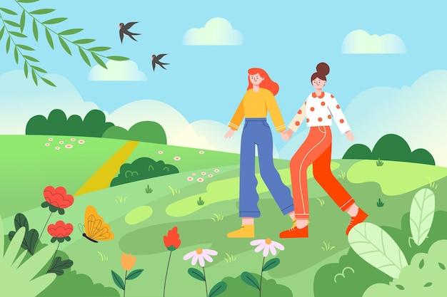 Un'illustrazione di una sorellina che cammina mano nella mano all'aperto