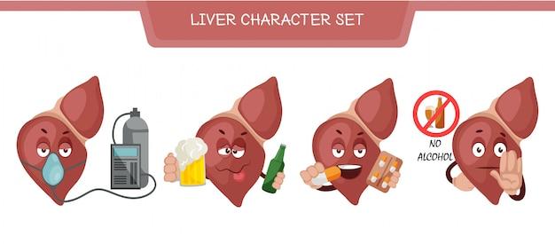 Illustrazione di set di caratteri di fegato