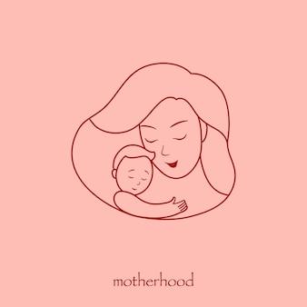 Illustrazione per un logo, madre con un bambino in braccio. cornice a forma di cuore