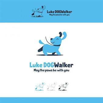 Illustrazione logo rounded dog animal pets Vettore Premium