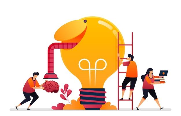 Illustrazione di cercare idee, soluzioni, aprire la tua mente creativa. cervello di ispirazione