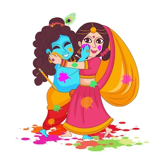 Illustrazione del signore krishna e della dea radha che suonano il festival dei colori di holi