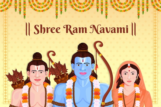 Illustrazione del festival di celebrazione di lord ram sita laxmana ram navami dell'india Vettore Premium
