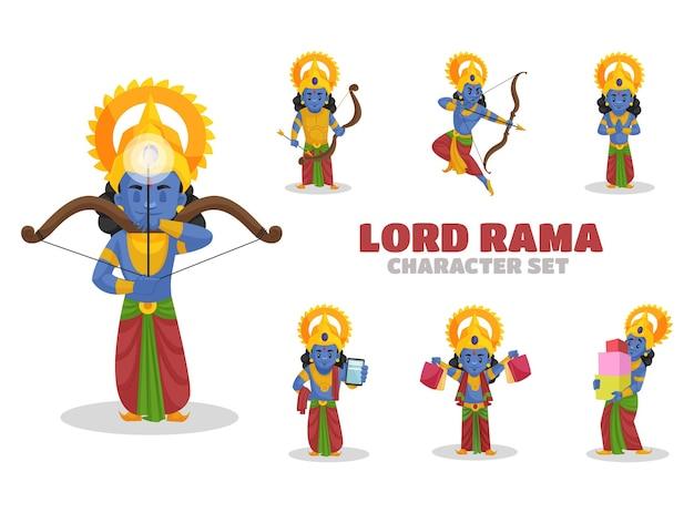 Illustrazione del set di caratteri di lord rama