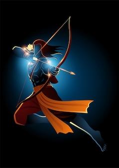Illustrazione di lord rama con arco e frecce, dio indiano degli indù