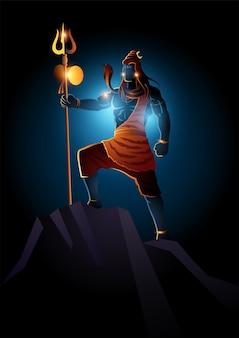 Illustrazione di lord shiva in piedi sulla cima di una roccia, dio indiano degli indù
