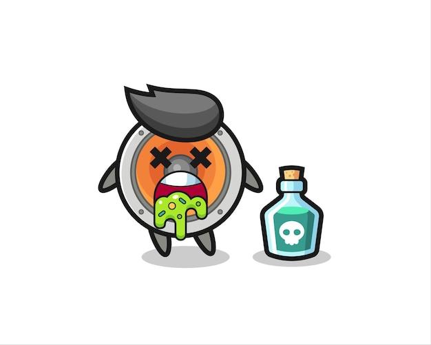 Illustrazione di un personaggio di un altoparlante che vomita a causa di avvelenamento, design in stile carino per maglietta, adesivo, elemento logo