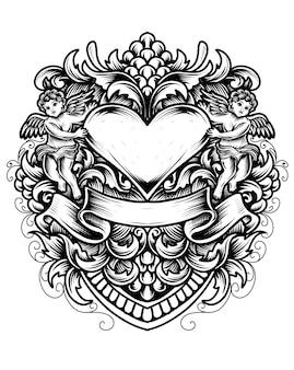 Illustrazione amore cuore con due baby angel e incisione ornamento