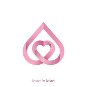 Illustrazione di un logo di amore in amore Vettore Premium