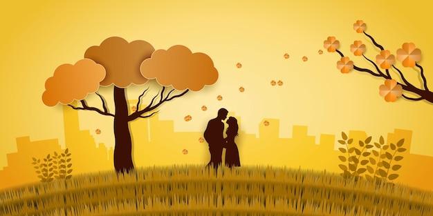 Illustrazione dell'amore con lo sfondo della stagione autunnale in stile papercut