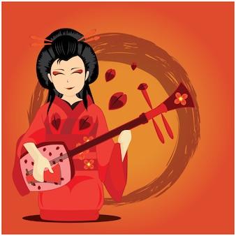 Illustrazione lussureggiante geisha di lava che suona il mandolino su sfondo rosso