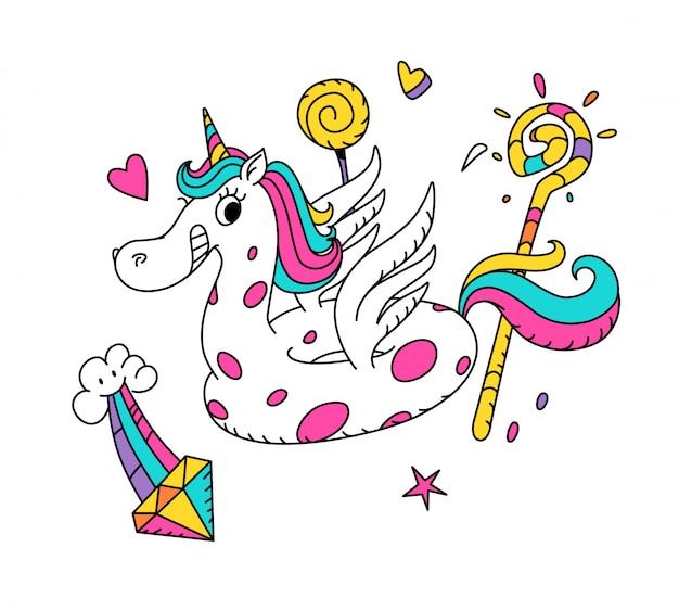 Illustrazione di un unicorno magico sotto forma di un anello di gomma.