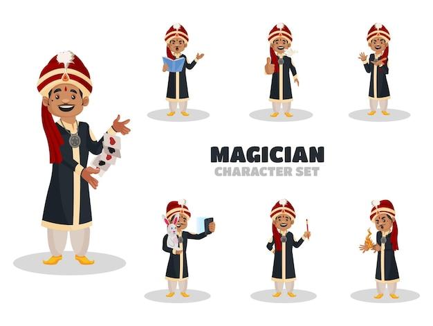 Illustrazione del set di caratteri del mago