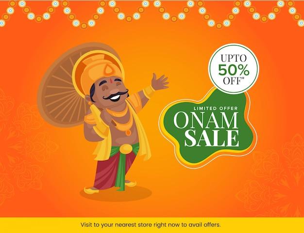 Illustrazione del re mahabali con felice design banner vendita onam