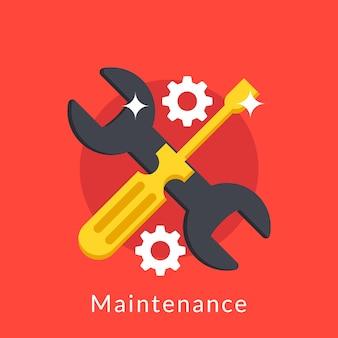 Illustrazione della manutenzione con cacciavite e chiave inglese