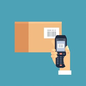 Illustrazione mano maschile che tiene scanner di codici a barre mobile o lettore di scansione di un codice a barre su una scatola di papercraft.
