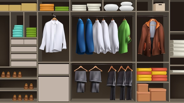 Illustrazione del maschio organizzato grande guardaroba sfondo pieno di vestiti