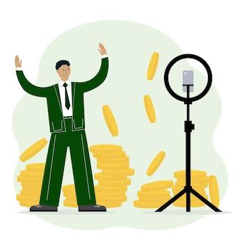 Illustrazione di un uomo che pubblicizza un corso per fare soldi online