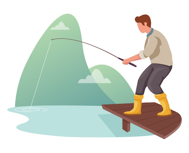 Illustrazione di un uomo che pesca in un fiume.