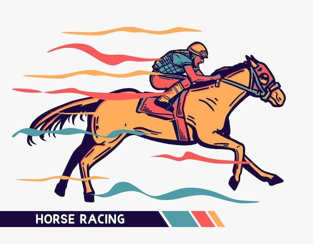 Illustrazione corse di cavalli uomo con opere d'arte a colori di movimento