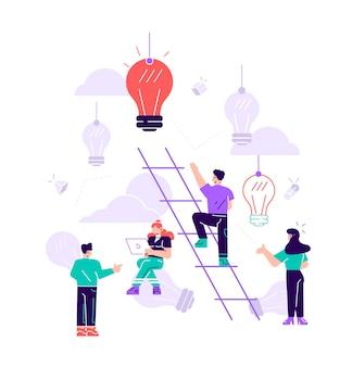 Illustrazione, un uomo cerca le scale, raggiungendo l'obiettivo, il percorso verso il successo è la motivazione, l'avanzamento di carriera, la ricerca di idee.