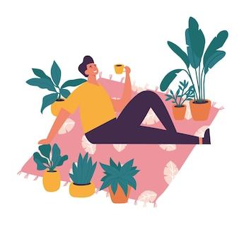 Illustrazione uomo seduto e appoggiato sul tappeto con una tazza di caffè.