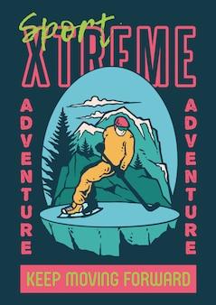 Illustrazione di un uomo di sciare sul ghiaccio con sfondo di montagna e colori vintage retrò.