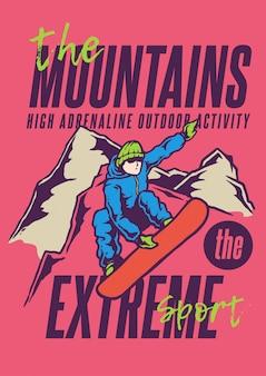Illustrazione di un uomo che scia salto in alto sulla montagna nella stagione invernale con colori vintage