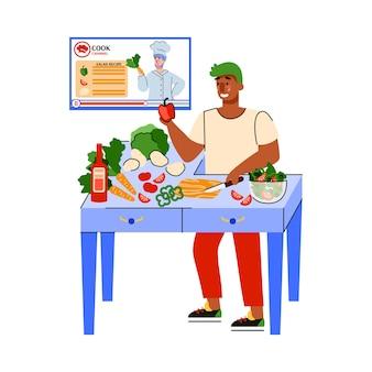 Illustrazione di un uomo che sta a casa e guarda un canale di cucina online.