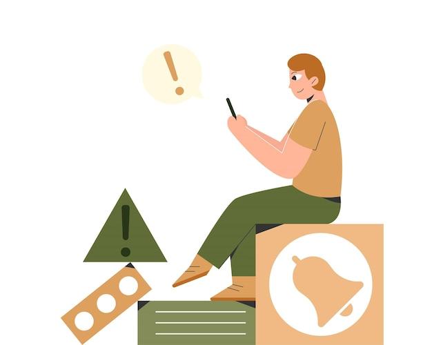 Illustrazione di uomo con notifiche push