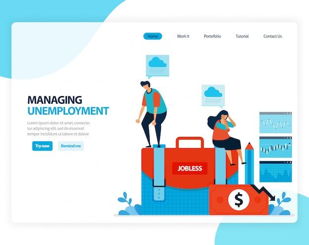 Illustrazione della gestione della disoccupazione. programma di sicurezza sociale per dipendenti post licenziamento. cartone animato piatto