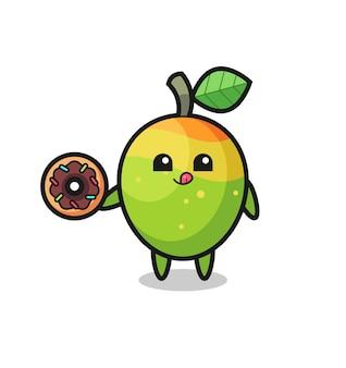 Illustrazione di un personaggio di mango che mangia una ciambella, design in stile carino per maglietta, adesivo, elemento logo
