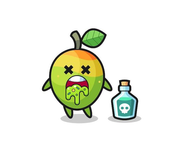 Illustrazione di un personaggio di mango che vomita a causa di avvelenamento, design in stile carino per maglietta, adesivo, elemento logo