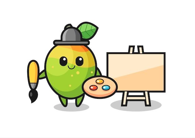 Illustrazione della mascotte del mango come pittore, design in stile carino per maglietta, adesivo, elemento logo