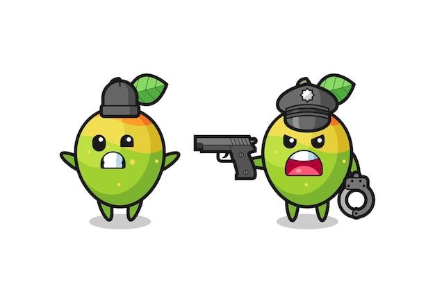 Illustrazione del ladro di mango con le mani alzate in posa catturato dalla polizia, design in stile carino per t-shirt, adesivo, elemento logo