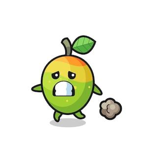 Illustrazione del mango che corre nella paura, design in stile carino per maglietta, adesivo, elemento logo