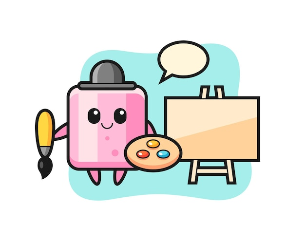 Illustrazione della mascotte marshmallow come pittore, design in stile carino per maglietta, adesivo, elemento logo