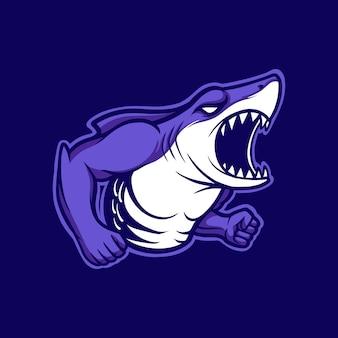 Illustrazione mascotte logo squalo arrabbiato con stile cartone animato